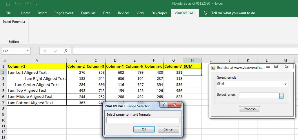 Excel Addin dynamic formula insertion in a range
