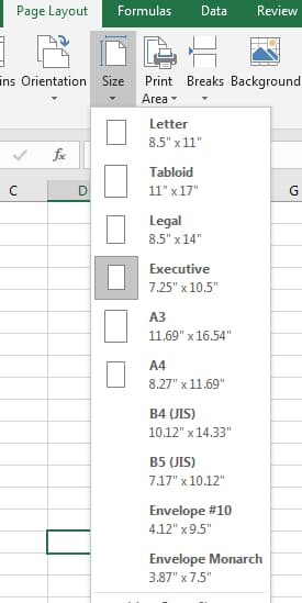 Paper Size in Excel Addin