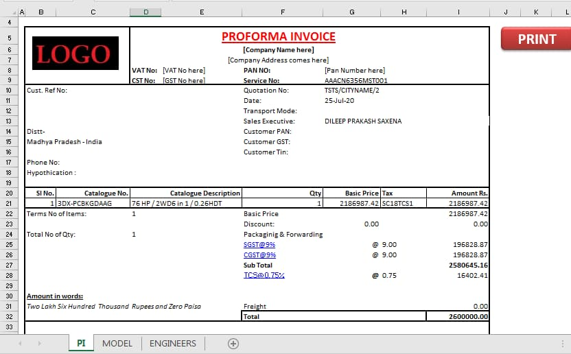 Download free Excel Automated Invoice