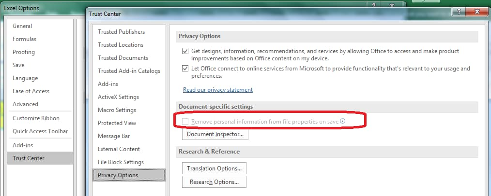 Document contain personal information popup fix with example