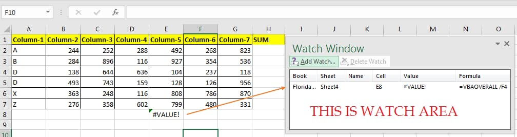 Watch Window Excel